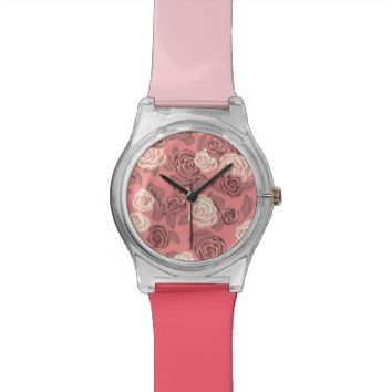 Bright Pink Roses - Wrist Watch #2