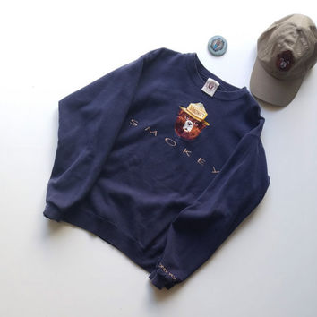 Smokey the Bear Crewneck Sweatshirt Embroidered size Medium