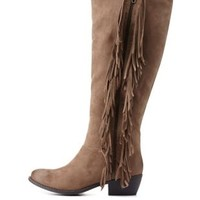 Taupe Flat Fringe Knee-High Boots by Charlotte Russe