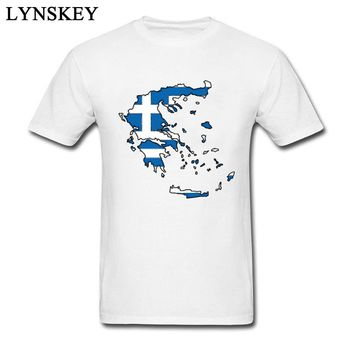 Cheap Team Pure Cotton Tshirts For Men Greece Map With Greek Flag T-Shirt Men's Fashion Famous Brand Hipster Cool Tshirt