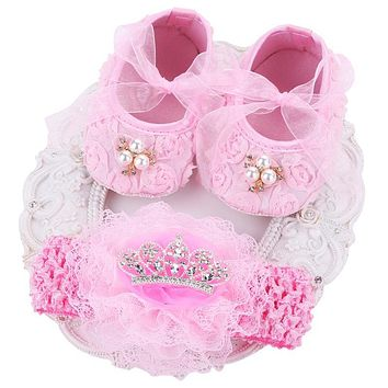 Pink Ballerina Kids Booties Shoes Baby Girl Headbands Set,Soft Soled Vintage Crib Girls First Walker,Sapatinhos De Bebes Meninos