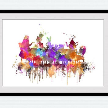 Alice in Wonderland poster Alice in Wonderland print Alice Tea-Party watercolor print Home decoration Kids room art Nursery room decor W544
