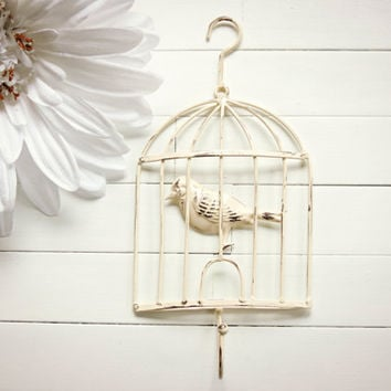 Shabby Chic Bird Cage Decor / Bird Cage Hook / Metal Bird Cage / Wall Hanging / Wall Decor / Garden Decor / Spring Decor / Shabby Chic Home