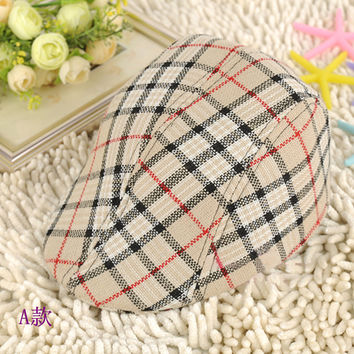 Cute Kids Toddler Flax Cap Newsboy Ivy Hat Classic Plaid hat Check Beret Sun Flat Child caps For baby boy Girl Free shipping