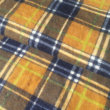 Vintage 80's Stretch Flannelette Fabric. Orange and Navy Plaid Fabric.