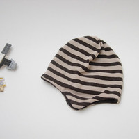 Jersey wool striped beige and brown pilot hat for baby boy / fall bonnet / 18-24 months