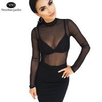 Sexy High Neck Long Sleeve Mesh See Through Snap Buttons Women's Bodysuits Summer Spring Playsuits Jumpsuits Bodice Rompers New