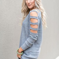 Ladder Tunic Sweater - Gray