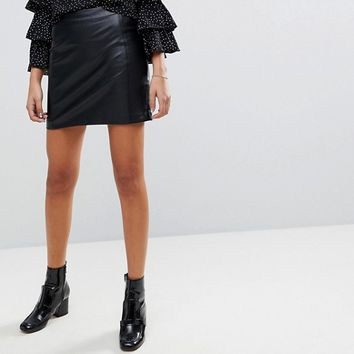 Oasis Faux Leather A Line Mini Skirt at asos.com