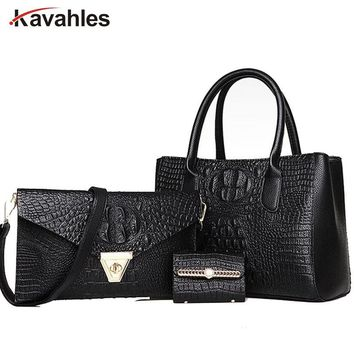 crocodile  Women Bag Set 3 Pieces Women Handbags and Purses 2017 Female Tote Bag and Wallet  luxury brand bag A40-329