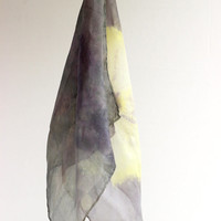 green blue yellow naturally dyed handkerchiefs, pair of silk hankies, hand dyed with weld, logwood and ivy