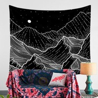 Night Mountain Wave Wall Mandala Tapestry Wall Hanging Hippie Boho Decor Psychedelic Tapestry Throw Wall Cloth Tapestries Carpet