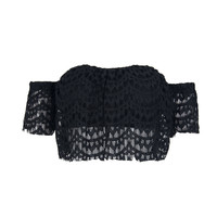 Black Off Shoulder Crop Lace Top
