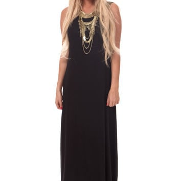 Black Loose Tank Maxi Dress
