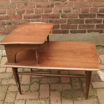Vintage 1960u0027s Danish Mid Century Modern End Table, Eames Era, 2 Tier,  Living