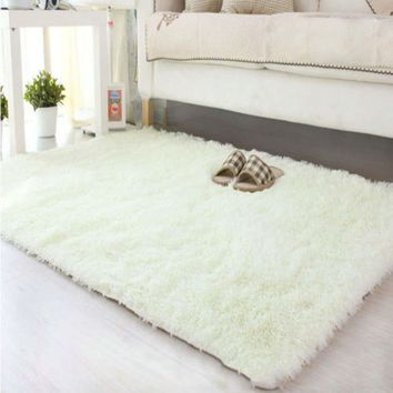 80*120cm Large Size Fluffy Rugs Anti-Skiding Shaggy Area Rug Dining Room Carpet Floor Mats White shaggy rugs shag rugs