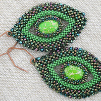 jasper earrings, dangle earrings, statement earrings green earrings seed beads earrings beaded gemstone earrings boho earrings huge earrings
