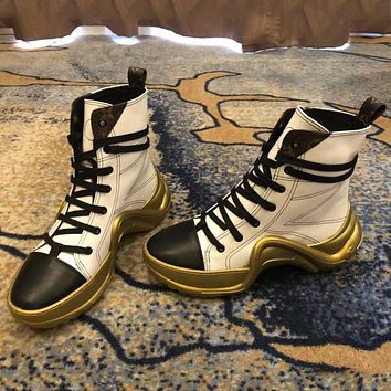 LV Louis Vuitton 2018 autumn and winter new sports casual platform boots high shoes F-ALS-XZ White