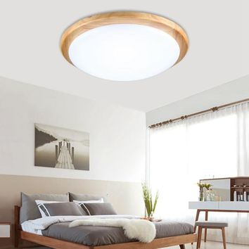 12W Wood Round LED Ceiling Down Light Flush Mount Home Fixture Lamp AC110-240V