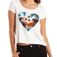 Ivory Palm Tree Graphic High-Low Tee by Charlotte Russe