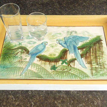 Large rectangular wooden serving tray with painted blue birds parrots on tree branch - Vintage yellow white painted serving tray
