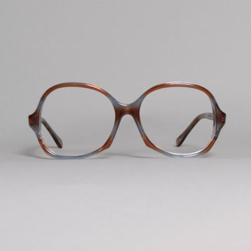 70s GLASSES Frames / Transparent Brown & Blue Oversized Plastic Frames
