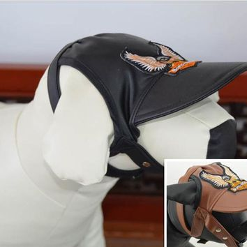 New Fashion Pet Dog Cap Leather Hat PVC Leather Eagle Pattern Windproof For Dogs Hat Autumn/Winter