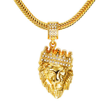 Mens Hip Hop Jewelry Iced Out 18K Gold Plated Fashion Bling Bling Lion Head Pendant Men Necklace Gold Filled For Gift/Present