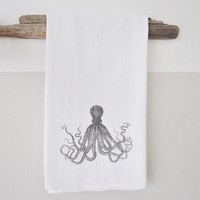 Octopus Dish Cloth - printed dish cloth - dish cloth - hand towel - beach decor - nautical dish towel - nautical home decor - octopus