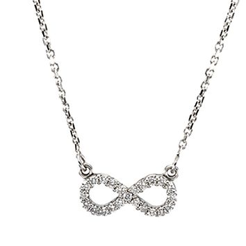 1/8 cttw Diamond Infinity 16-Inch Necklace in 14k White Gold