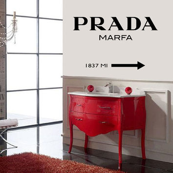 wall decal vinyl sticker prada marfa girls fashion living bedroom shop logo design decals birthday gift ideas Typography wall decal AS@ 36