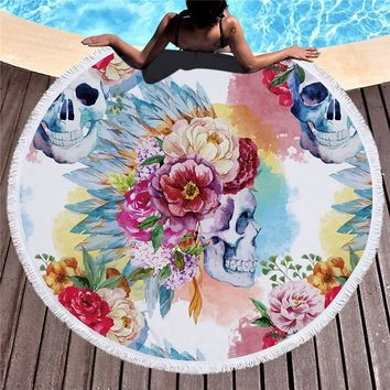 Microfiber Sugar Skull Printed Beach Towel for Adults Mat Tassel Blanket Large Round White Bath Towel 150cm Tapestry Home Decor