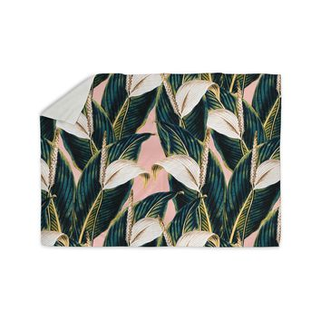 "mmartabc ""Botanical Flowers Vintage"" Pink Green Nature Floral Illustration Digital Sherpa Blanket"