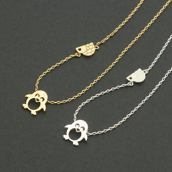 Penguin and Igloo Necklace / penguin necklace, winter jewelry / N088