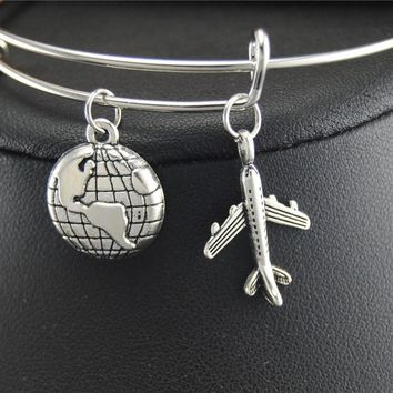 $1 Tibetan Silver Airplane Traveling the World Charm Expandable Adjustable Wire Wrapped Bangle Bracelet Jewelry Gift E432