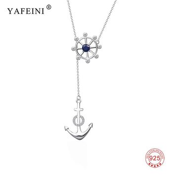 925 Sterling Silver Crystal CZ Anchor Paddle Pendant Necklaces Fashion Jewelry