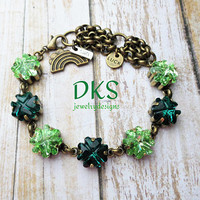 Irish for a Day, Swarovski Bracelet, Shamrock, Green, St. Patricks Day, Ireland, DKSJewelrydesigns, FREE SHIPPING