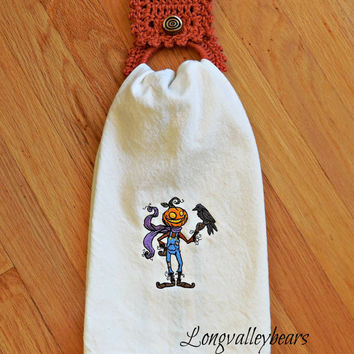 Kitchen dishtowel, Tea Towel, Halloween Kitchen Towel Machine embroidery with Hand Crochet Towel holder