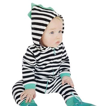 Cotton Baby Romper Infant Toddler Kids Black and White Striped Long Sleeve Hooded Jumpsuit with Zipper Newborn Clothes