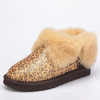 """UGG"" Popular Women Men Winter Four-Leaf Fur Snow Boots Warm Anti-Skid Short Boots Gold Leopard"