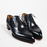 AUGUAU Men  s Christian Louboutin Black Longwing Brogue  New Platers  Shoes