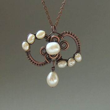 Pearl copper necklace, renaissance inspired statement wedding jewelry, bridal necklace
