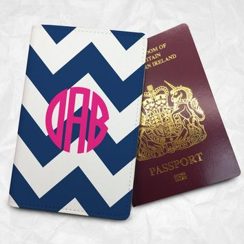 Personalised Logo with Ribbon Pattern Passport Cover Passport Holder with FREE Name Printing (BBS007)