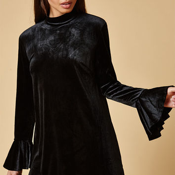 Lucca Couture Emma Velvet Bell Sleeve Mini Dress at PacSun.com