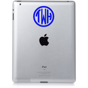 4 INCH CIRCLE MONOGRAM Great for Ipads Macbooks by OwlOutfitters