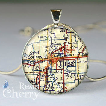 Tulsa map resin pendants,map jewelry pendant,Tulsa map pendant charms,Oklahoma- M0336CP