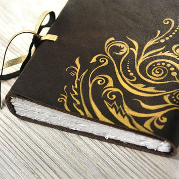 Art Nouveau Black Leather Journal, Luxury Diary, Elegant Notebook in Black and Gold - Halloween Midnight Secret