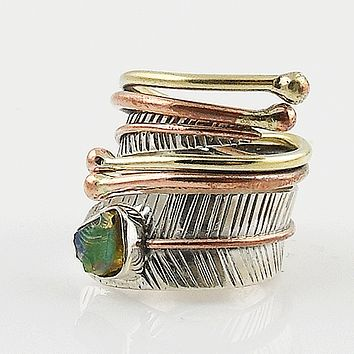 Ethiopian Opal Rough Three Tone Adjustable Sterling Silver Wrap Ring