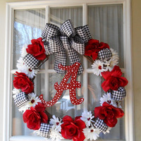 BAMA Themed Wreath - College Football Wreath - Team Wreath - Houndstooth Wreath - Crimson Wreath