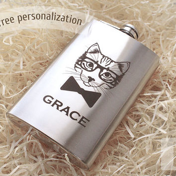 Cat flask - Personalized gift for him - For her - Cat gifts - Groomsmen flask - Gifts for men - Hip Flask for your favorite tipple - 10 oz